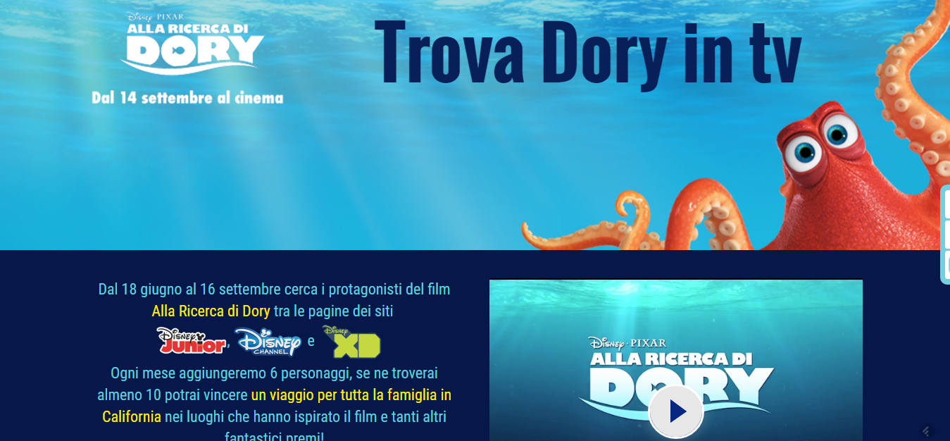 Trova Dory in TV   Concorso a premi   Disney
