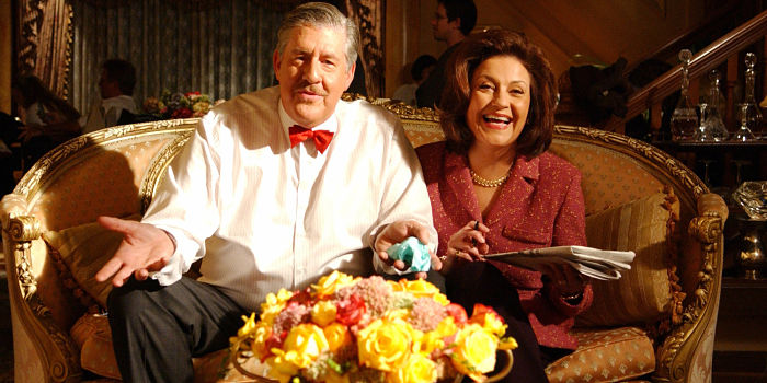 UNSPECIFIED - SEPTEMBER 29: Medium shot of Edward Herrmann as Richard sitting on couch with Kelly Bishop as Emily. (Photo by Patrick Ecclesine/Warner Bros./Getty Images)