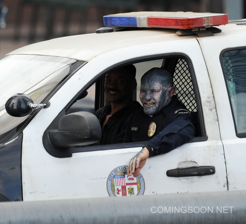 Will Smith on the set of 'Bright' with his alien co-star Joel Edgerton filming in Downtown Los Angeles
