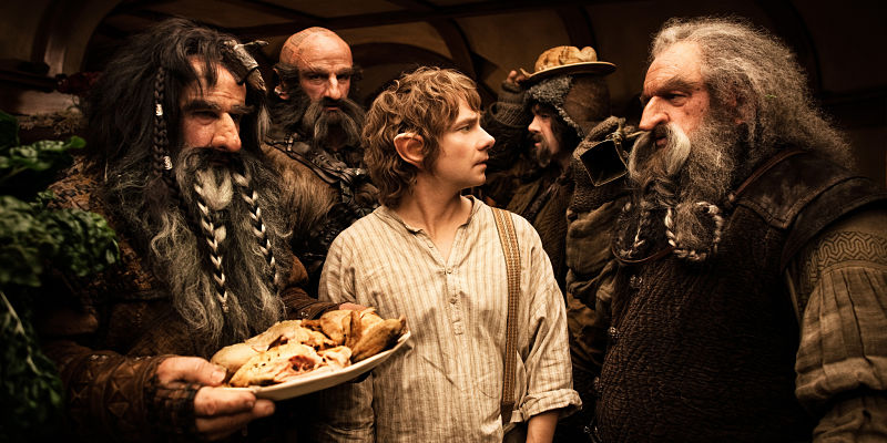 """(L-r) WILLIAM KIRCHER as Bifur, GRAHAM McTAVISH as Dwalin, MARTIN FREEMAN as Bilbo Baggins, JAMES NESBITT as Bofur and JOHN CALLEN as Oin in the fantasy adventure """"THE HOBBIT: AN UNEXPECTED JOURNEY,"""" a production of New Line Cinema and Metro-Goldwyn-Mayer Pictures (MGM), released by Warner Bros. Pictures and MGM."""