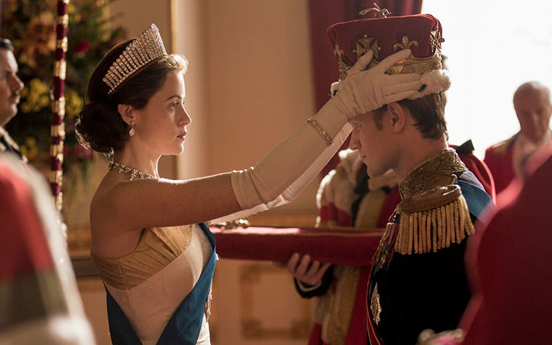 The-Queen-Claire-Foy-formally-makes-the-Duke-of-Edinburgh-Matt-Smith-a-prince-in-1957-The-Crown-season-2