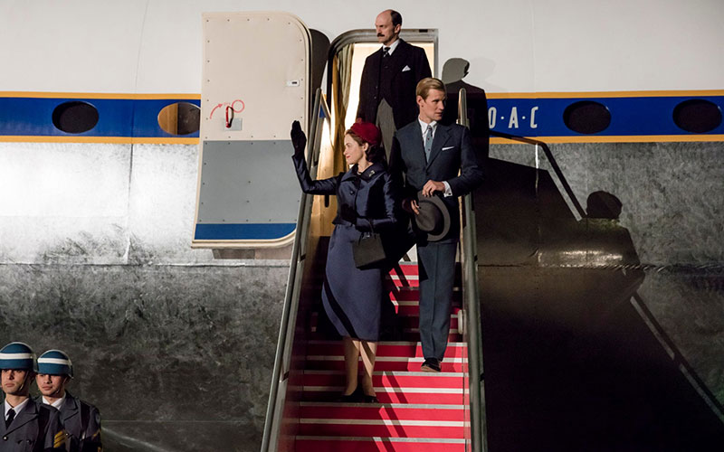 The-royal-couple-return-from-a-world-tour-with-their-private-secretary-Sir-Michael-Adeane-The-Crown-season-2