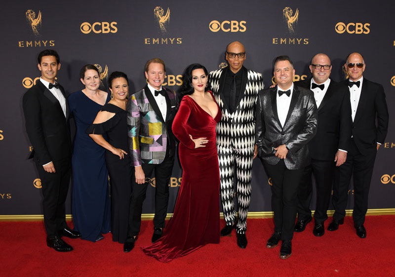 Cast of RuPaul's Drag Race arrive for the 69th Emmy Awards at the Microsoft Theatre on September 17, 2017 in Los Angeles, California. / AFP PHOTO / Mark RALSTON        (Photo credit should read MARK RALSTON/AFP/Getty Images)
