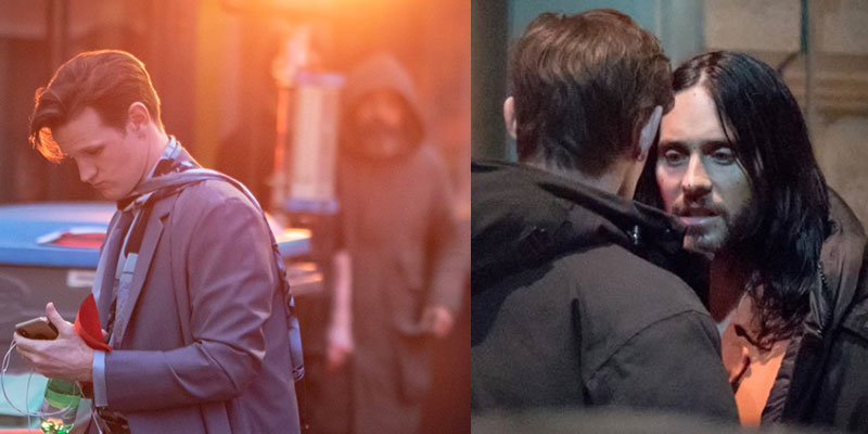 Jared Leto, Adria Arjona e Matt Smith fotografati sul set di Morbius