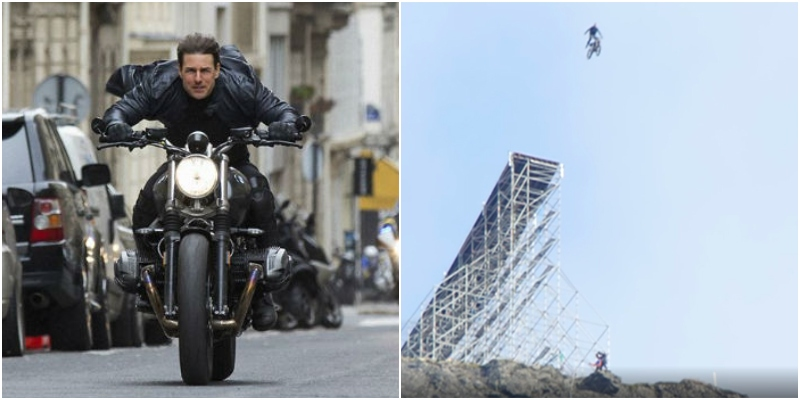 Tom Cruise spericolato sul set di Mission Impossible 7: vola con una moto SENZA CONTROFIGURA!